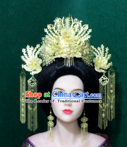 Traditional Handmade Chinese Hair Accessories Tang Dynasty Empress Phoenix Coronet Ancient Tassel Hairpins Headwear for Women