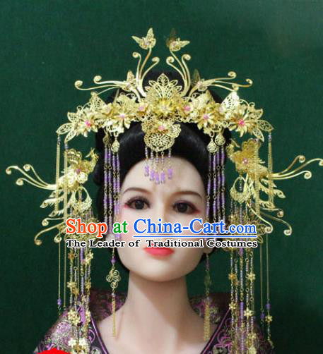 Traditional Handmade Chinese Hair Accessories Tang Dynasty Phoenix Coronet, Royal Princess Wedding Hairpins Complete Set for Women