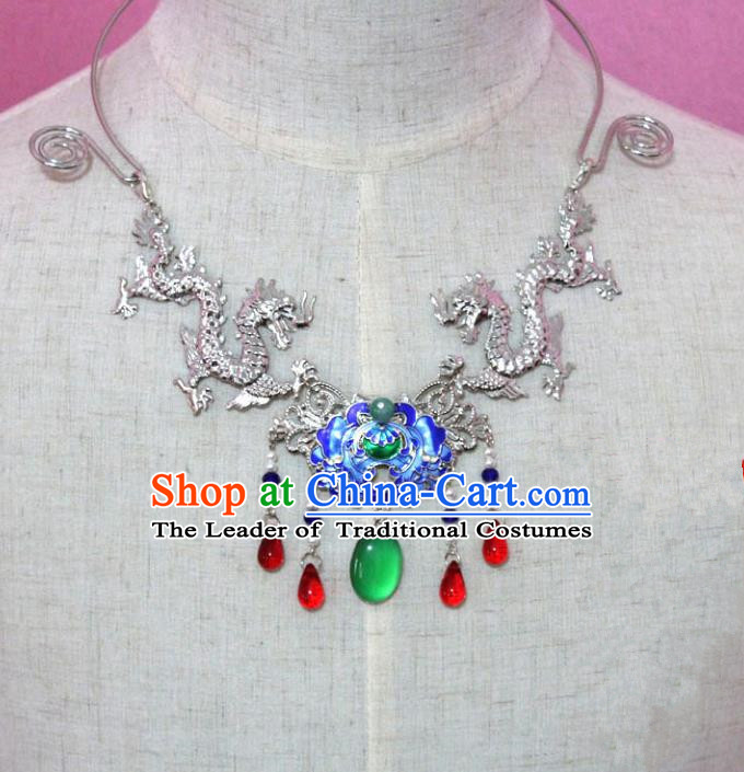 Traditional Handmade Chinese Jewelry Accessories Princess Lotus Necklace, China Tang Dynasty Empress Tassel Cloisonne Necklet for Women