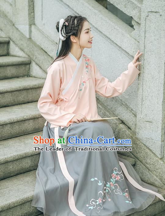 Traditional Chinese Ancient Hanfu Palace Lady Costume, Asian China Ming Dynasty Princess Embroidery Peach Blossom Blouse and Skirts Complete Set