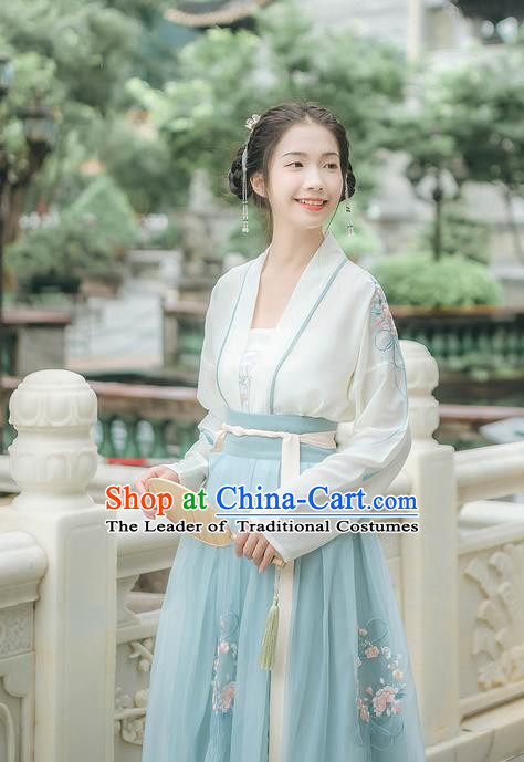 Traditional Chinese Ancient Hanfu Young Lady Costume, Asian China Tang Dynasty Princess Embroidery Blouse and Slip Skirts Complete Set