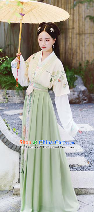 Asian China Han Dynasty Hanfu Costume Traditional Chinese Princess Embroidery Dress Clothing Complete Set