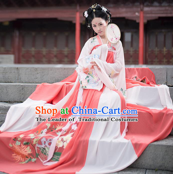 Asian China Ancient Tang Dynasty Hanfu Costume, Traditional Chinese Princess Embroidered Blouse and Skirts Clothing for Women