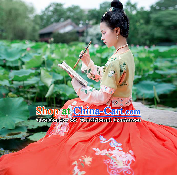 Asian China Ancient Tang Dynasty Costume Green Half-Sleeves and Slip Skirt Complete Set, Traditional Chinese Princess Embroidered Clothing for Women