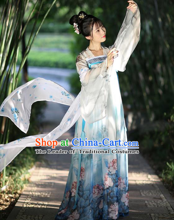 Asian China Ancient Tang Dynasty Palace Lady Costume, Traditional Chinese Princess Printing Clothing for Women