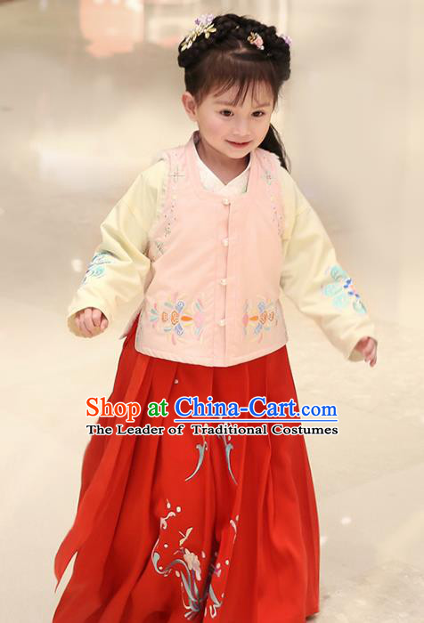 Traditional Chinese Ancient Hanfu Princess Costume Embroidered Pink Vest Blouse and Red Skirt, Asian China Ming Dynasty Palace Lady Clothing for Women