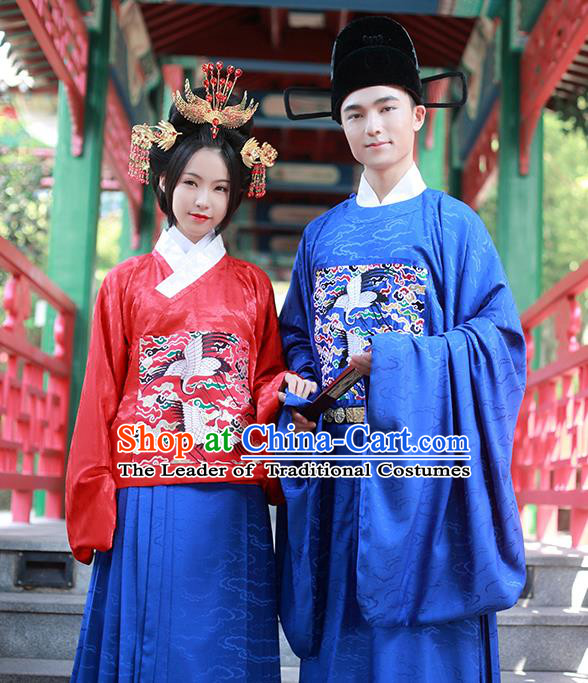 Asian Chinese Ming Dynasty Wedding Costume Complete Set, Ancient China Bride and Bridegroom Embroidered Clothing for Women for Men