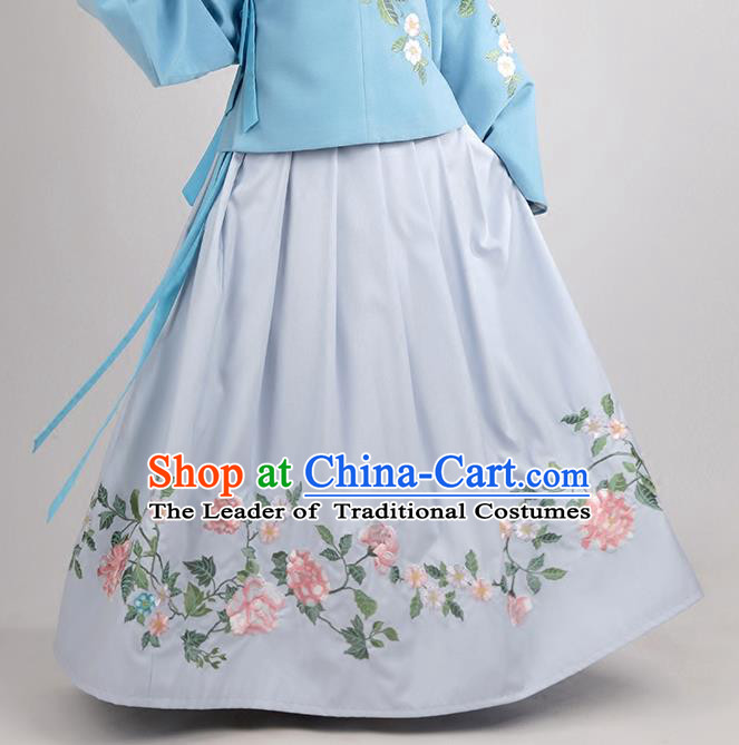 Asian Chinese Ming Dynasty Princess Costume Embroidery White Skirts, Ancient China Palace Lady Embroidered Dress for Women