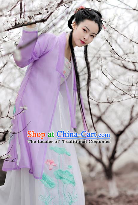 Asian Chinese Song Dynasty Princess Costume Embroidery Long BeiZi, Ancient China Palace Lady Embroidered Purple Cardigan for Women