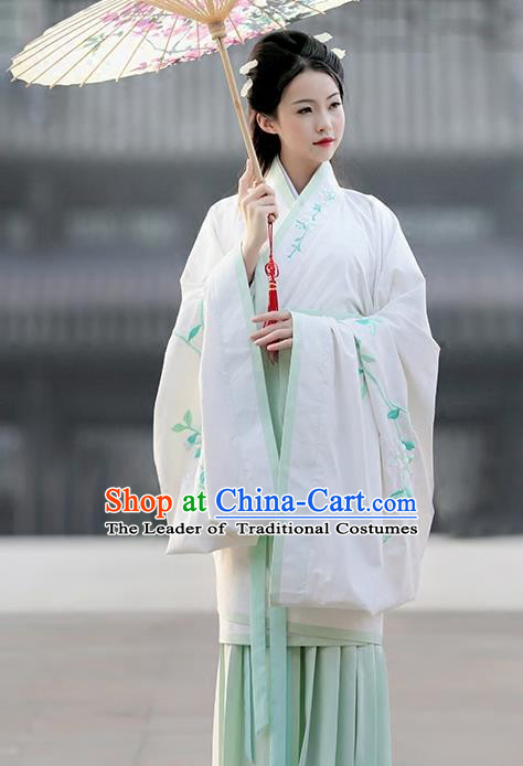 Asian China Ancient Han Dynasty Palace Lady Costume Complete Set, Traditional Chinese Hanfu Embroidered Curve Bottom Clothing for Women