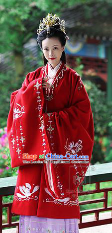 Asian Chinese Tang Dynasty Hanfu Imperial Concubine Costume Red Embroidered Cloak, Traditional China Ancient Princess Cardigan Clothing for Women