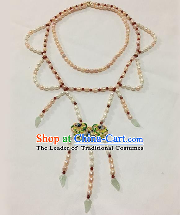 Traditional Handmade Chinese Accessories Tang Dynasty Empress Tassel Necklace, China Palace Lady Necklet for Women