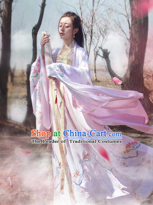 Asian Chinese Tang Dynasty Imperial Princess Costume, Traditional China Ancient Palace Lady Embroidered Pink Wide Sleeve Cloak