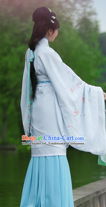 Asian Chinese Han Dynasty Imperial Princess Blue Curve Bottom Costume, Traditional China Ancient Palace Lady Embroidered Dress for Women