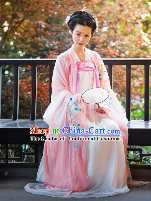 Asian Chinese Tang Dynasty Imperial Concubine Costume Hanfu Pink Embroidery Slip Skirt, Traditional China Ancient Embroidered Dress Clothing for Women