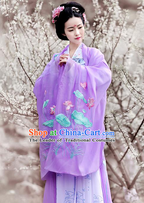Asian Chinese Tang Dynasty Princess Costume Embroidery Lotus Wide Sleeve Cloak, Ancient China Palace Lady Embroidered Purple Cardigan for Women