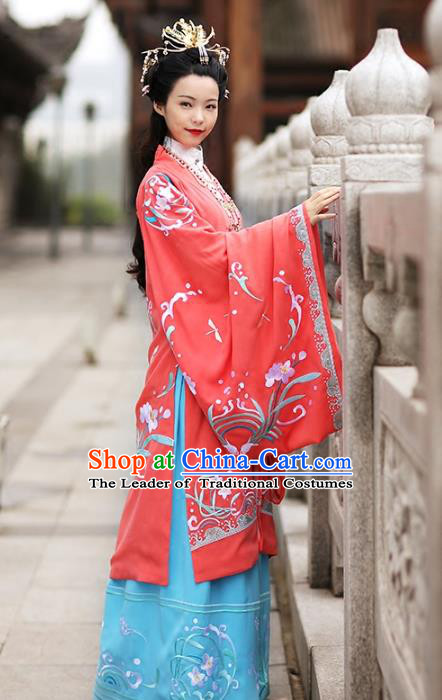 Asian Chinese Song Dynasty Young Lady Costume Red Cloak, Ancient China Princess Embroidered BeiZi Clothing for Women