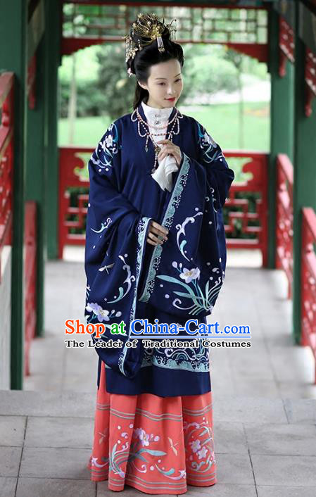 Asian Chinese Song Dynasty Young Lady Costume Navy Cloak, Ancient China Princess Embroidered BeiZi Clothing for Women
