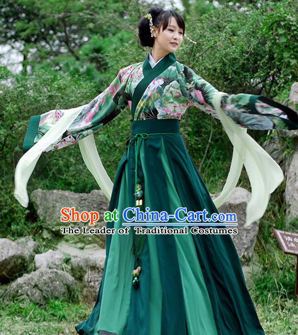 Asian Chinese Tang Dynasty Imperial Concubine Costume Slip Skirt, Ancient China Palace Lady Printing Green Clothing for Women