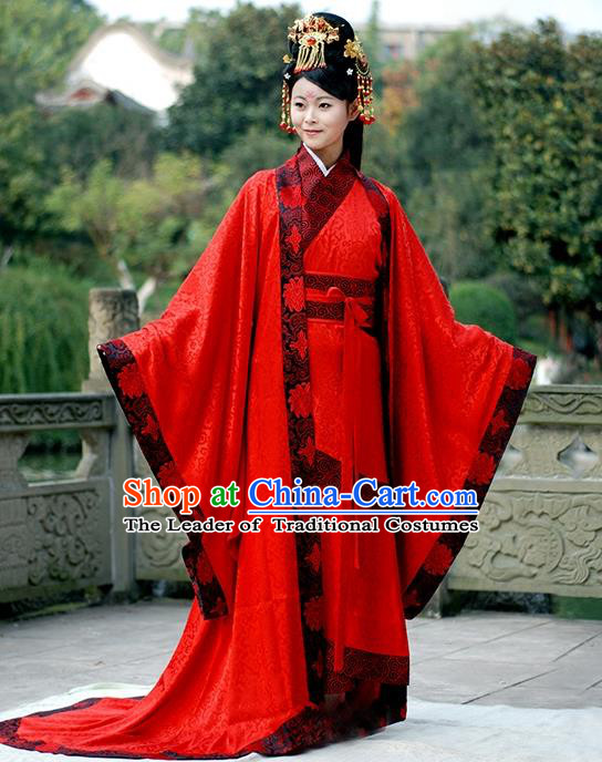 Asian Chinese Han Dynasty Imperial Concubine Wedding Costume, Ancient China Palace Lady Embroidered Red Clothing for Women