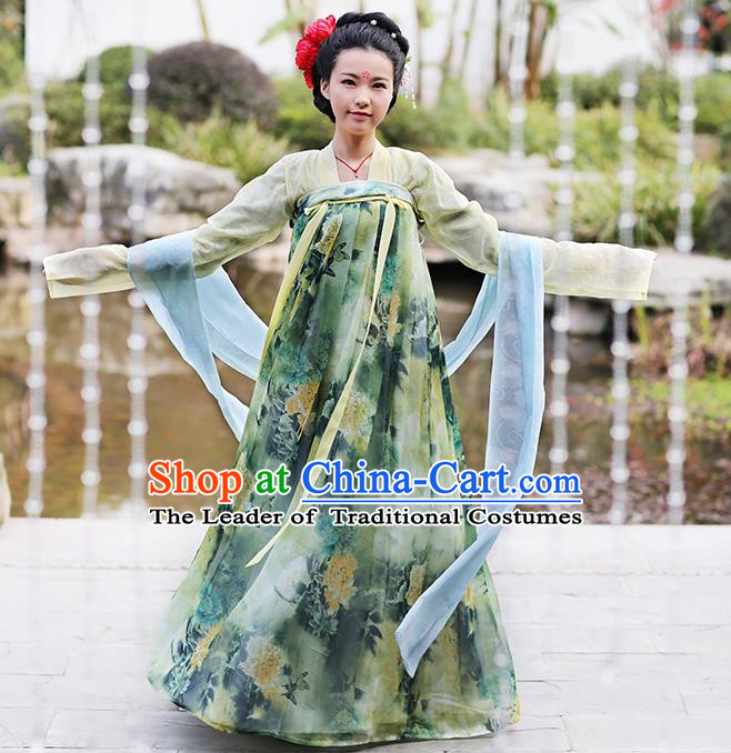 Asian Chinese Tang Dynasty Princess Costume Slip Skirt Complete Set, Ancient China Palace Lady Clothing for Women