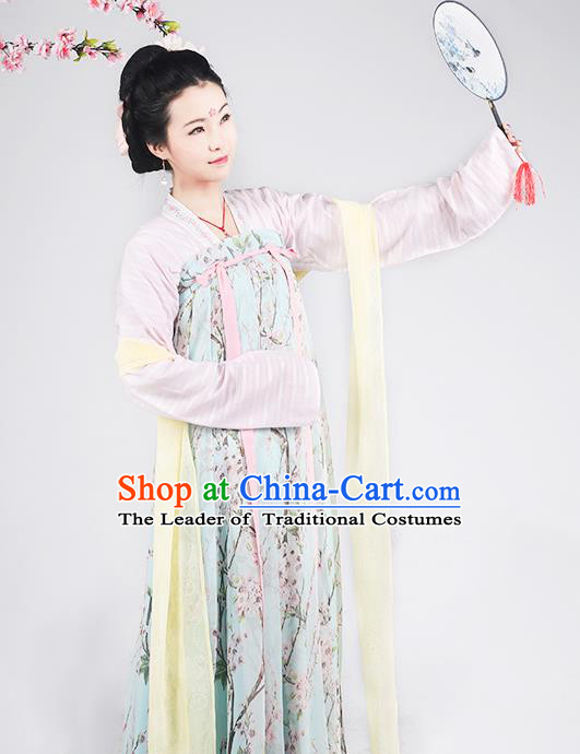 Asian Chinese Tang Dynasty Princess Costume Slip Skirt Complete Set, Ancient China Palace Lady Printing Clothing for Women