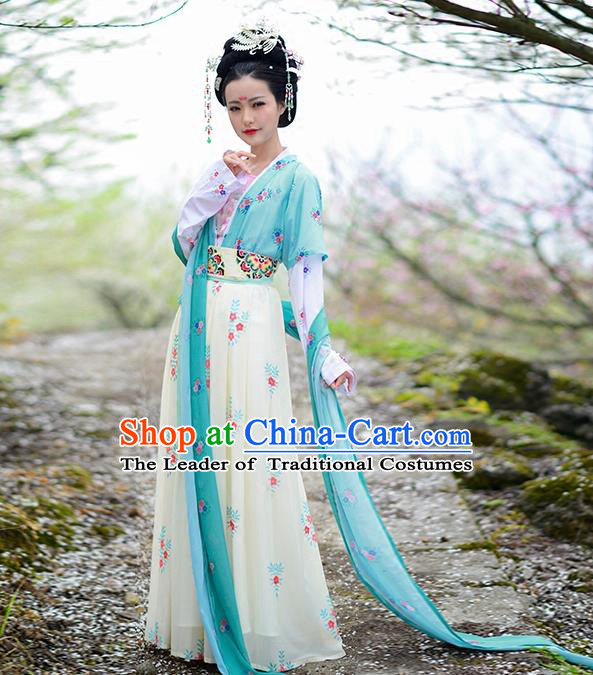 Asian Chinese Tang Dynasty Princess Embroidery Costume Complete Set, Ancient China Palace Lady Embroidered Clothing for Women