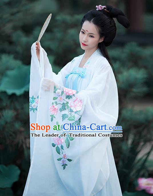 Asian Chinese Tang Dynasty Princess Embroidery Costume White Cloak, Ancient China Palace Lady Embroidered Wide Sleeve Cardigan for Women