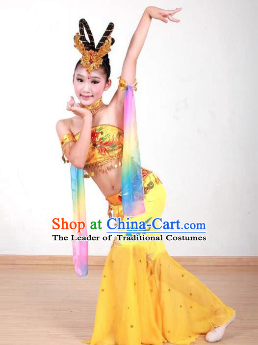 Traditional Chinese Dunhuang Flying Apsaras Dance Costume Folk Dance Clothing for Kids