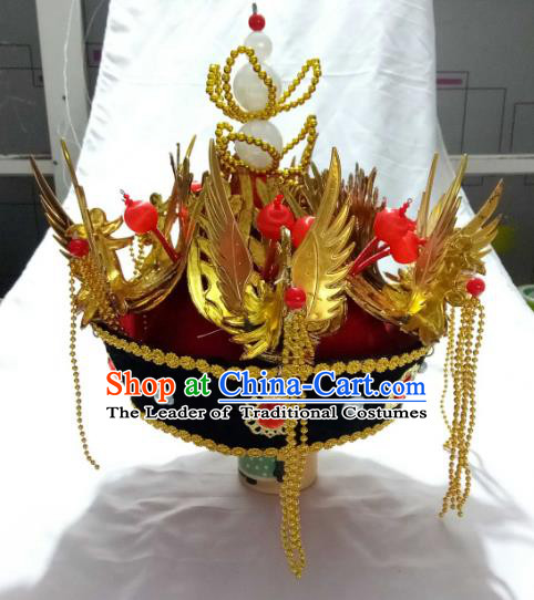Traditional Chinese Qing Dynasty Imperial Empress Hats, China Ancient Manchu Queen Phoenix Coronet Headwear for Women