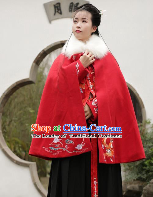 Asian Chinese Ming Dynasty Young Lady Embroidered Red Wool Cloak, Ancient China Princess Hanfu Short Mantle Clothing for Women