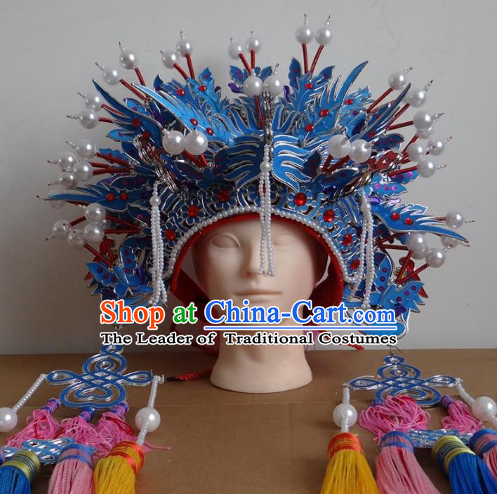 Traditional Chinese Ming Dynasty Imperial Empress Wedding Hats, China Ancient Bride Blue Phoenix Coronet Headwear for Women