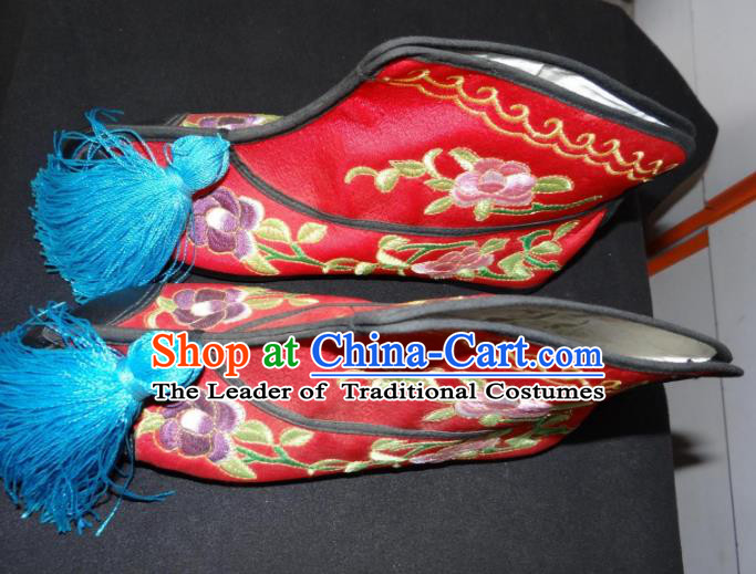 Traditional Chinese Peking Opera Swordplay Embroidered Shoes Quick Boots, China Ancient Beijing Opera Blues Red Blood Stained Shoes for Women