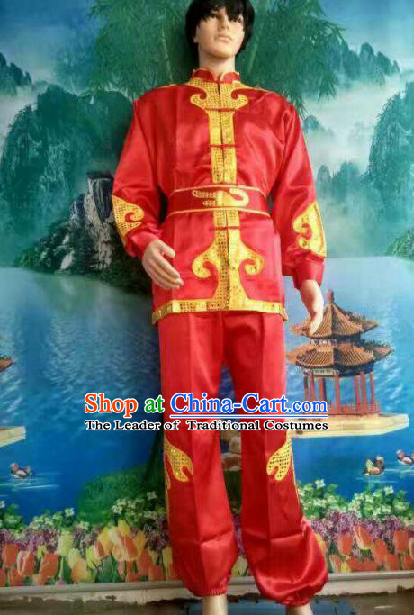 Traditional Chinese Classical Dance Yangge Fan Dance Costume, Folk Dance Drum Dance Lion Dance Red Clothing for Men