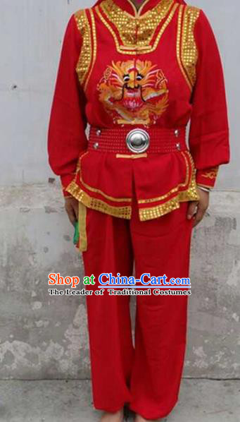 Traditional Chinese Classical Dance Yangge Fan Dance Costume, Folk Dance Drum Dance Lion Dance Clothing for Men