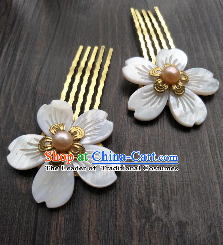 Traditional Handmade Chinese Hair Accessories Shell Hair Comb, China Palace Lady Hairpins for Women