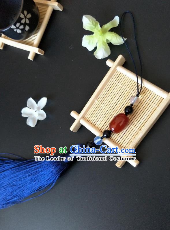 Traditional Handmade Chinese Hanfu Accessories Jade Pendant, China Palace Lady Blue Tassel Waist Pendant for Women