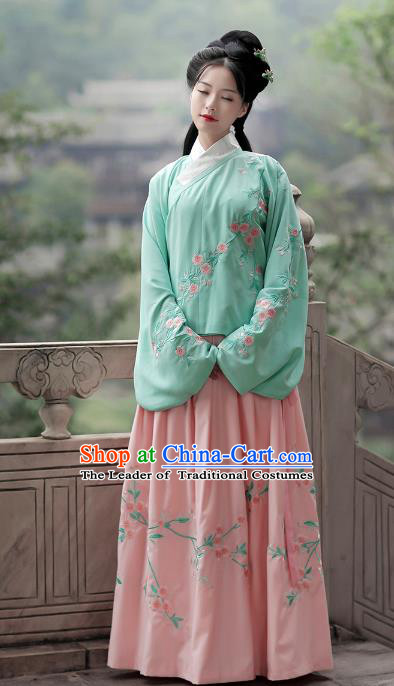 Asian Chinese Ming Dynasty Young Lady Costume Green Blouse, Ancient China Princess Embroidered Hanfu Clothing for Women