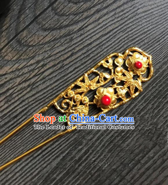 Traditional Handmade Chinese Hair Accessories Golden Kanzashi, China Ancient Palace Lady Hanfu Hairpins for Women