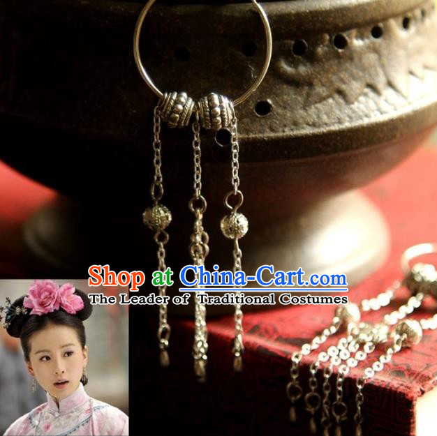 Traditional Handmade Chinese Hanfu Accessories Earrings, China Ancient Palace Lady Tassel Eardrop for Women