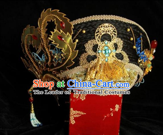 Traditional Handmade Chinese Qing Dynasty Hair Accessories Headwear, Manchu High Coiffure Imperial Concubine Headpiece for Women