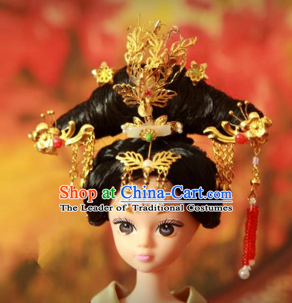 Traditional Handmade Chinese Qing Dynasty Hair Accessories Complete Set, Manchu High Coiffure Imperial Concubine Hairpins Headpiece