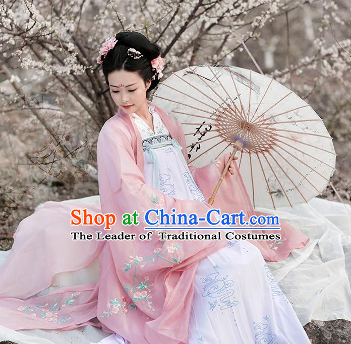 Asian Chinese Tang Dynasty Palace Lady Embroidered Wide Sleeve Cardigan, Ancient China Princess Hanfu Pink Cloak Clothing for Women
