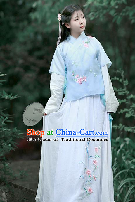 Asian Chinese Song Dynasty Embroidered Costume Complete Set, Ancient China Young Lady Embroidery Blue Half-Sleeves Blouse and Skirt Clothing