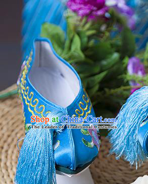 Traditional Chinese Qing Dynasty Princess Blue Embroidered Shoes Saucers, China Ancient Manchu Palace Lady Blood Stained Shoes for Women