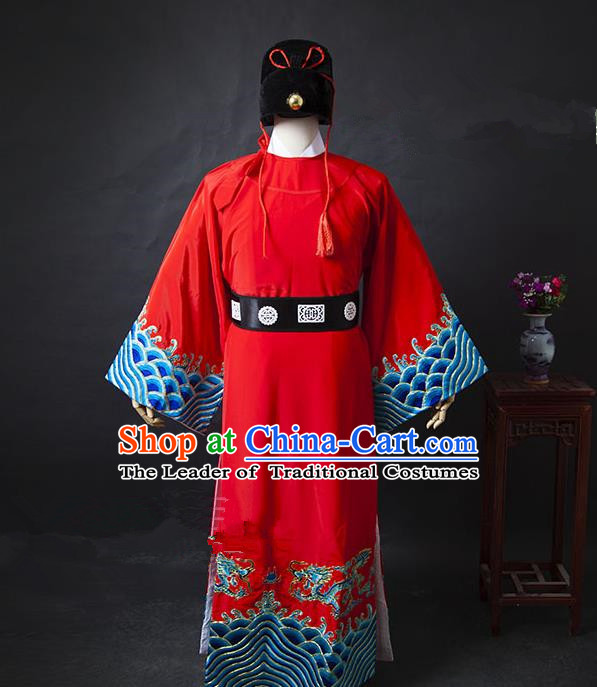 Traditional Chinese Peking Opera Bao Zheng Costume Embroidered Robe, China Ancient Beijing Opera Gwanbok for Men
