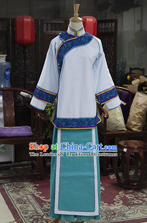 Traditional Ancient Chinese Manchu Nobility Lady Costume, Asian Chinese Qing Dynasty Embroidered Clothing for Women