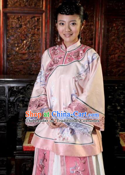 Traditional Ancient Chinese Republic of China Nobility Lady Embroidered Costume, Asian Chinese Qing Dynasty Embroidered Xiuhe Suit Clothing for Women