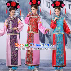 Traditional Ancient Chinese Manchu Imperial Concubine Costume, Asian Chinese Qing Dynasty Palace Lady Embroidered Dress Clothing for Women