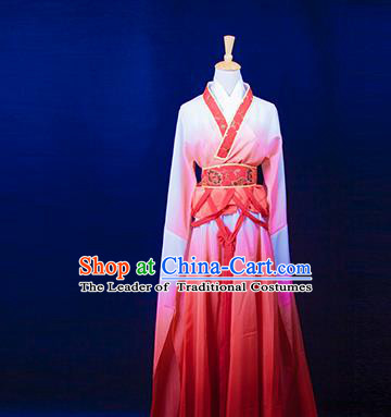 Traditional Chinese Tang Dynasty Young Lady Costume, China Ancient Princess Embroidered Fairy Pink Dress Clothing for Women